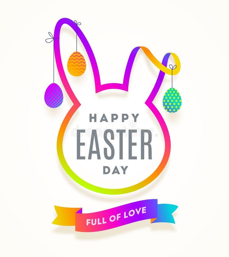 Besnoeiing van multicolored document silhouet van een konijn` s hoofd met de groet en het hangen van Pasen verfraaide eieren vector illustratie