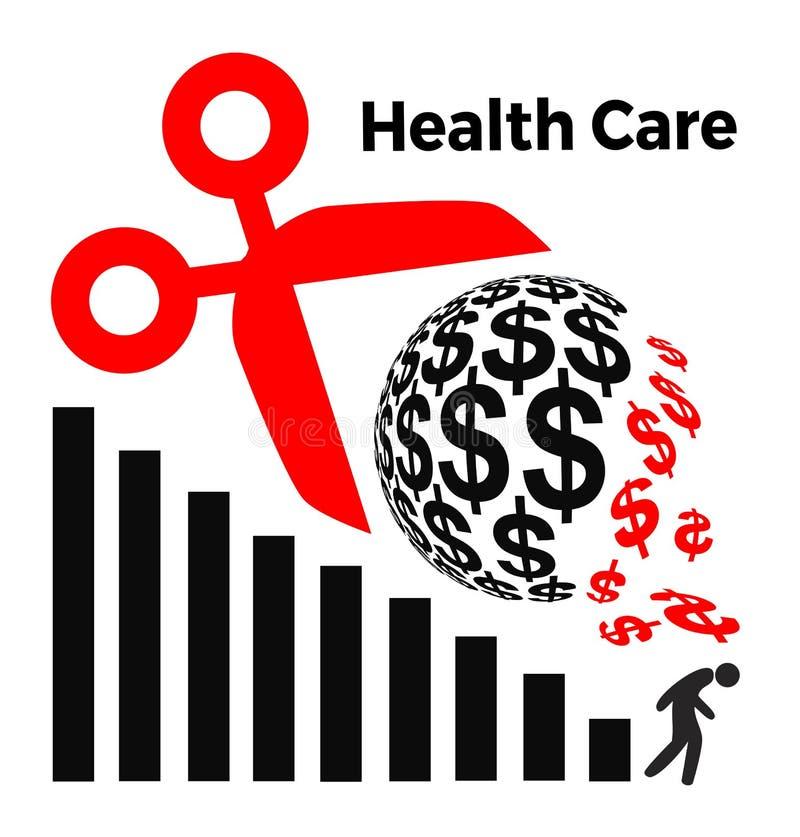 Besnoeiingen in Gezondheidszorg het Besteden vector illustratie