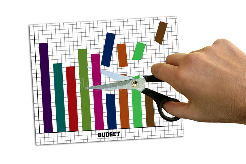 Besnoeiingen op de begroting stock foto
