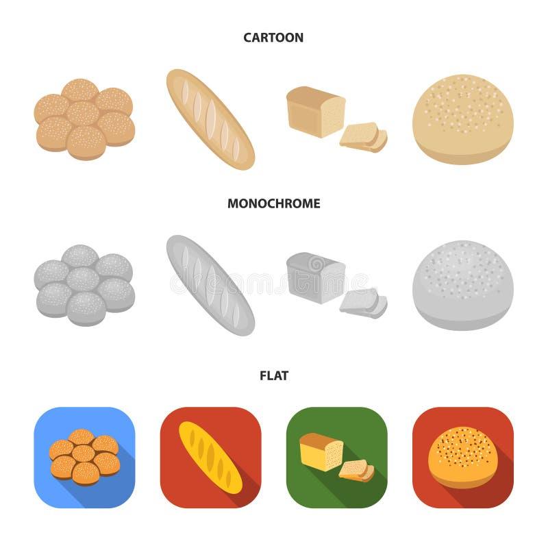 Besnoeiingsbrood, broodje met poeder, de helft van brood, het bakken Pictogrammen van de brood de vastgestelde inzameling in beel royalty-vrije illustratie