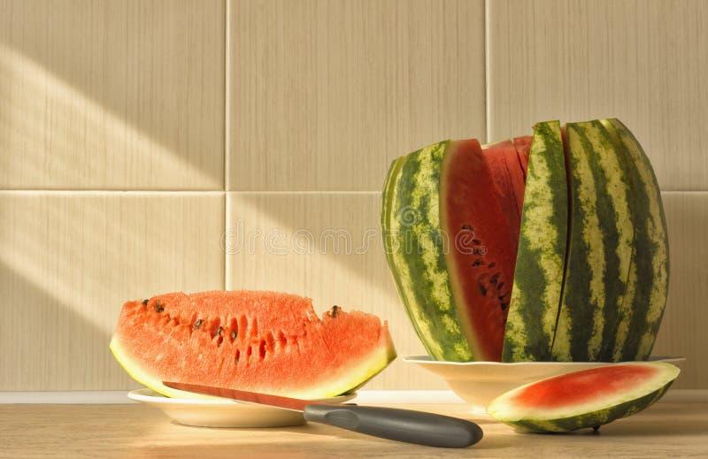 Besnoeiingsplakken van rijpe, geurige watermeloen royalty-vrije stock fotografie