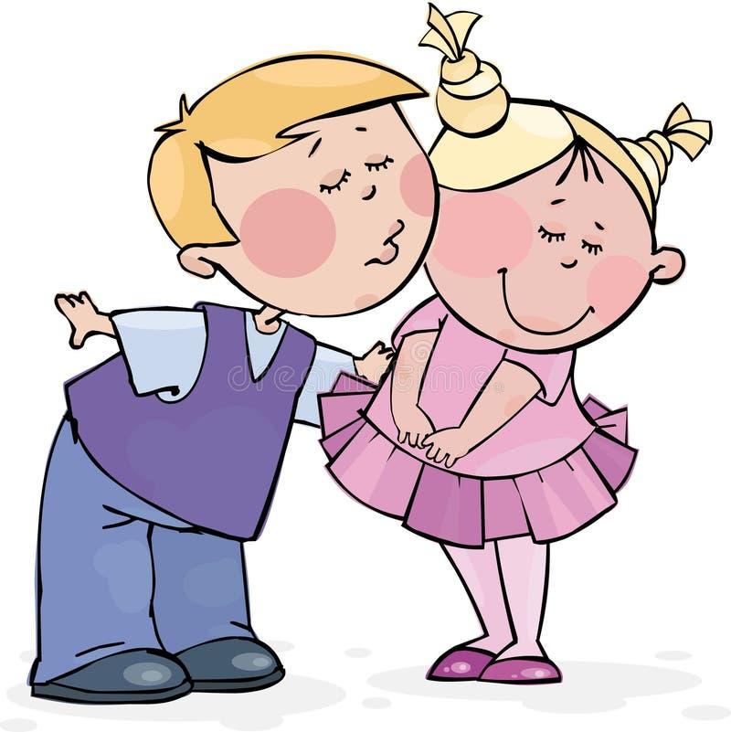 Beso de la tarjeta del día de San Valentín stock de ilustración