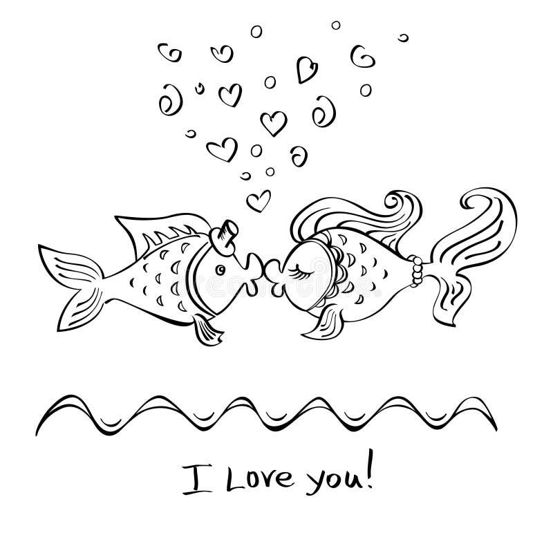 Beso del dibujo de dos pescados foto de archivo