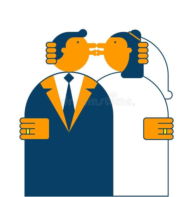 Beso Wedding Novia y novio Ilustración del vector ilustración del vector