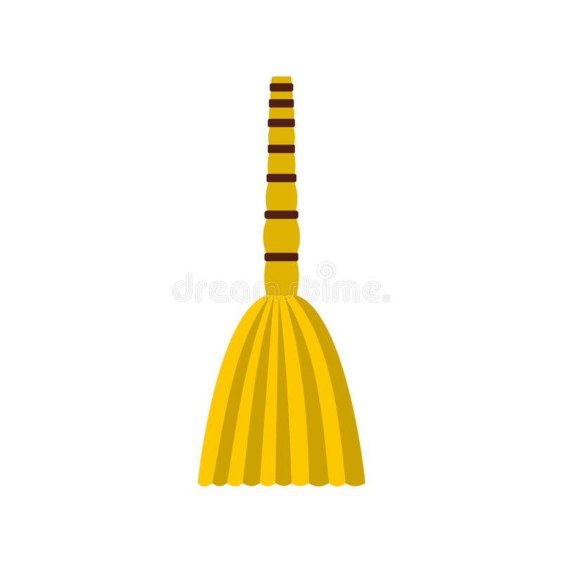 Besom icon, flat style vector illustration