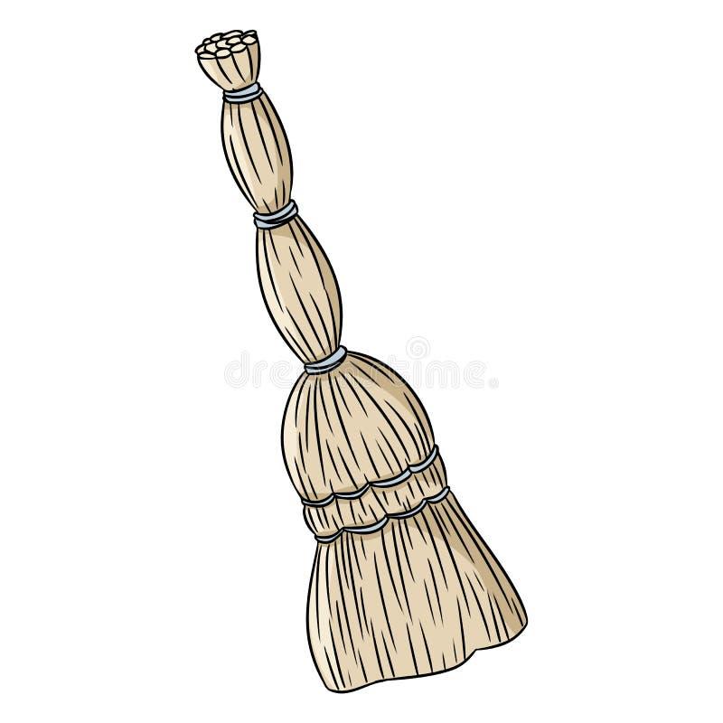 Besom miotły organicznie doodle R?ka rysuj?cy wektorowy wizerunek ilustracja wektor