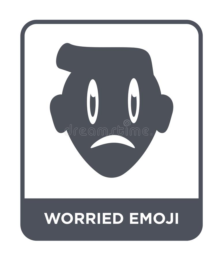 besorgte emoji Ikone in der modischen Entwurfsart gesorgte emoji Ikone lokalisiert auf weißem Hintergrund besorgte emoji Vektorik stock abbildung