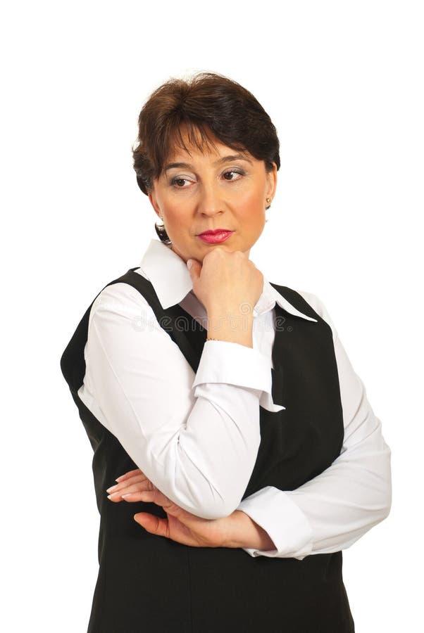 Besorgte fällige Geschäftsfrau lizenzfreies stockfoto