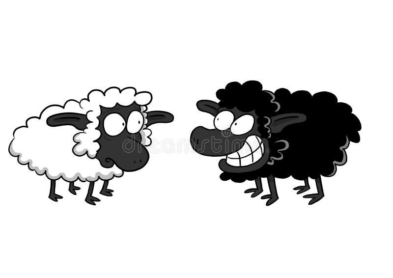 Besorgte weiße Schafe und lächelnde schwarze Schafe lizenzfreie abbildung