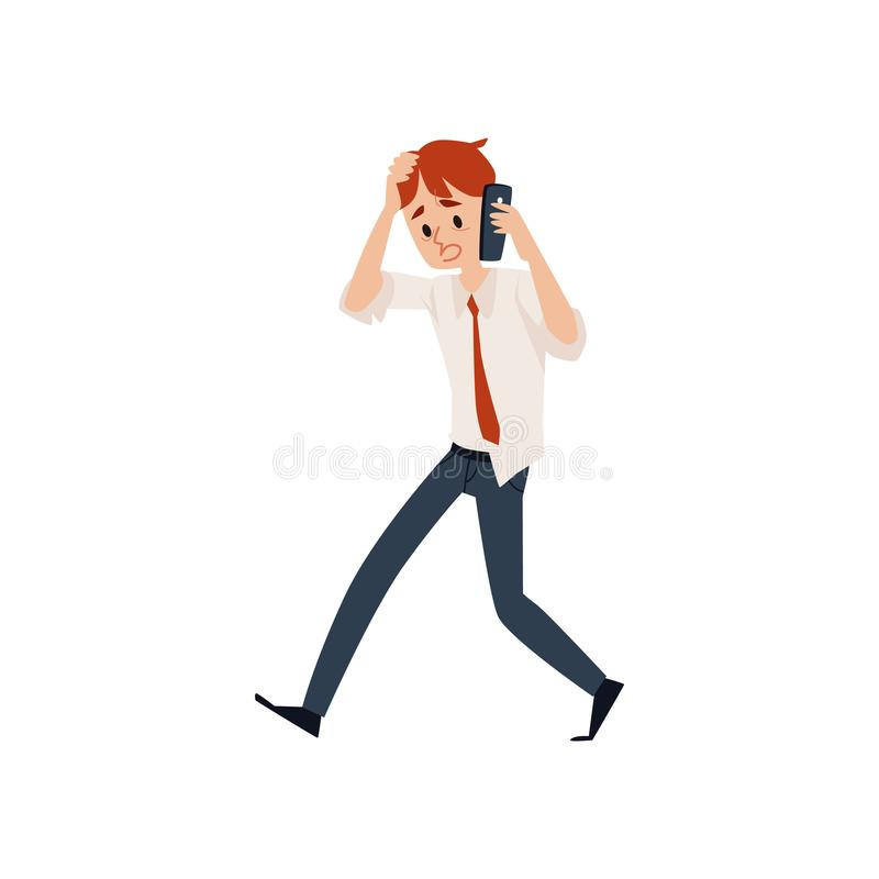 Besorgter Geschäftsmann, der durch Handy spricht und seine Hauptkarikaturart hält vektor abbildung
