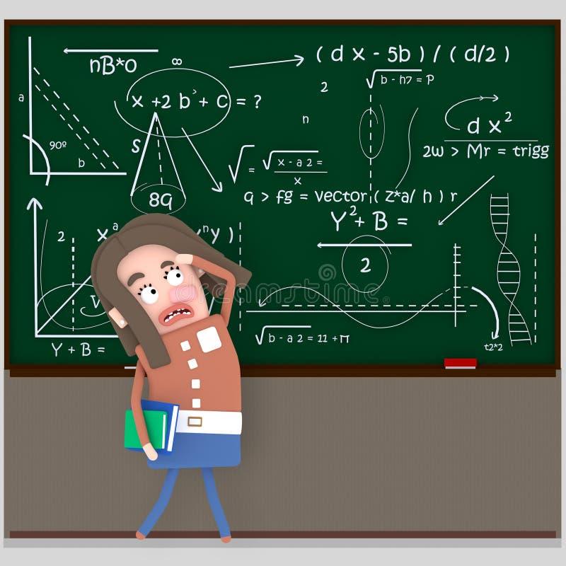 Besorgter Student, der Tafel betrachtet 3d stock abbildung