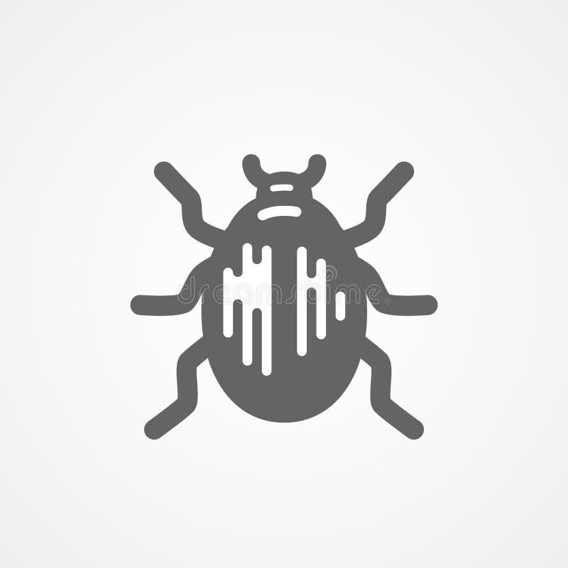 Besouro abstrato do vetor ícone preto e branco ilustração stock