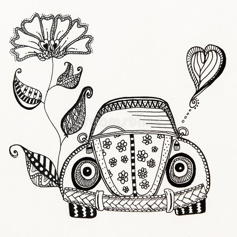 BESOURO, desenho da tinta, erro, VW, a mão livre fotografia de stock