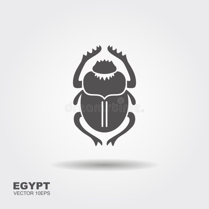 Besouro do escaravelho do vetor Egipto antigo Ícone liso ilustração do vetor