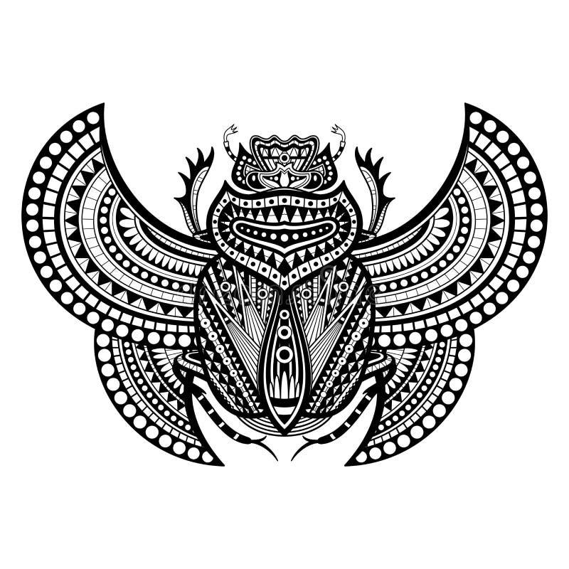 Besouro do escaravelho do vetor na tinta ilustração stock