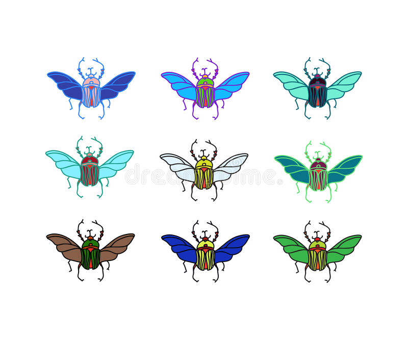Besouros coloridos vetor ilustração do vetor