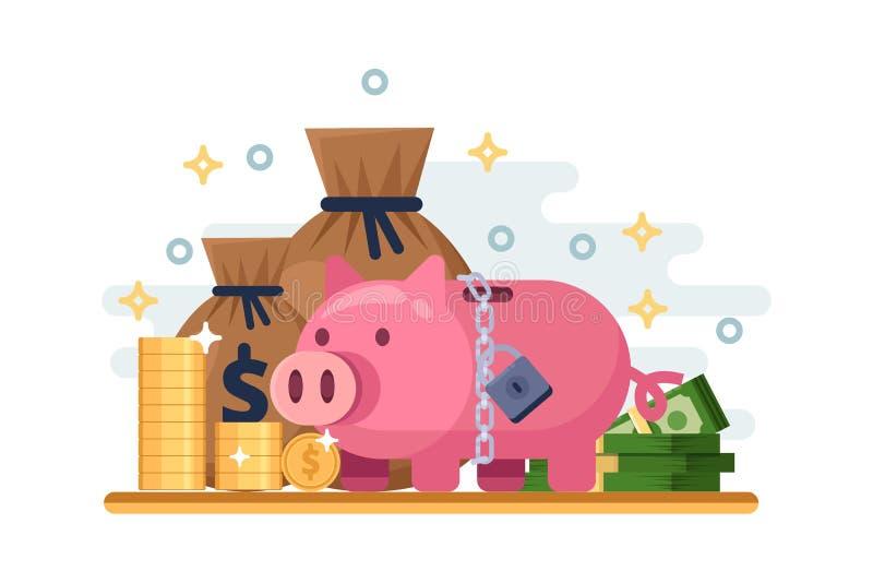 Besparing en beschermingsgeldstorting Vector vlakke illustratie van spaarvarken met hangslot Financiële zekerheidconcept stock illustratie