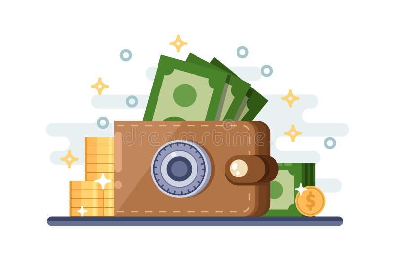 Besparing- och för skyddspengar insättning Plan illustration för vektor av läderplånboken med låskassaskåpet royaltyfri illustrationer