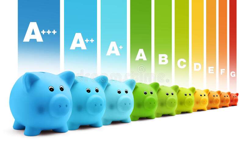 Besparingar för skala för energigruppeffektivitet av den färgrika spargrisen vektor illustrationer