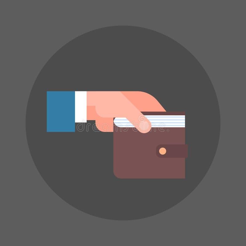 Besparingar för symbol för plånbok för hand för affärsman hållande och rikedombegrepp stock illustrationer