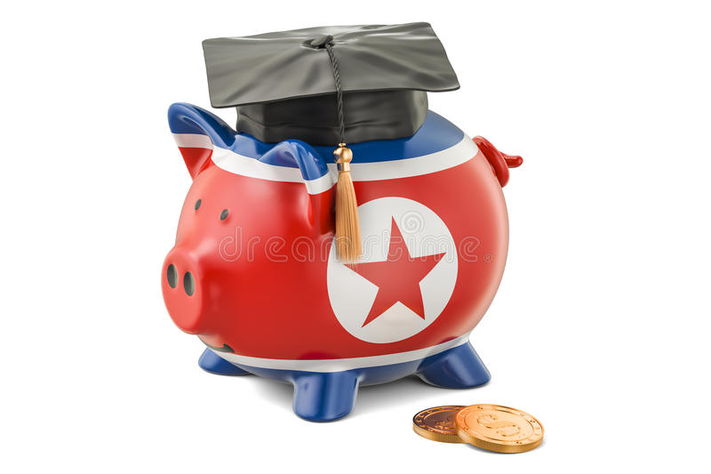 Besparingar för utbildning i det Nordkorea begreppet, tolkning 3D vektor illustrationer