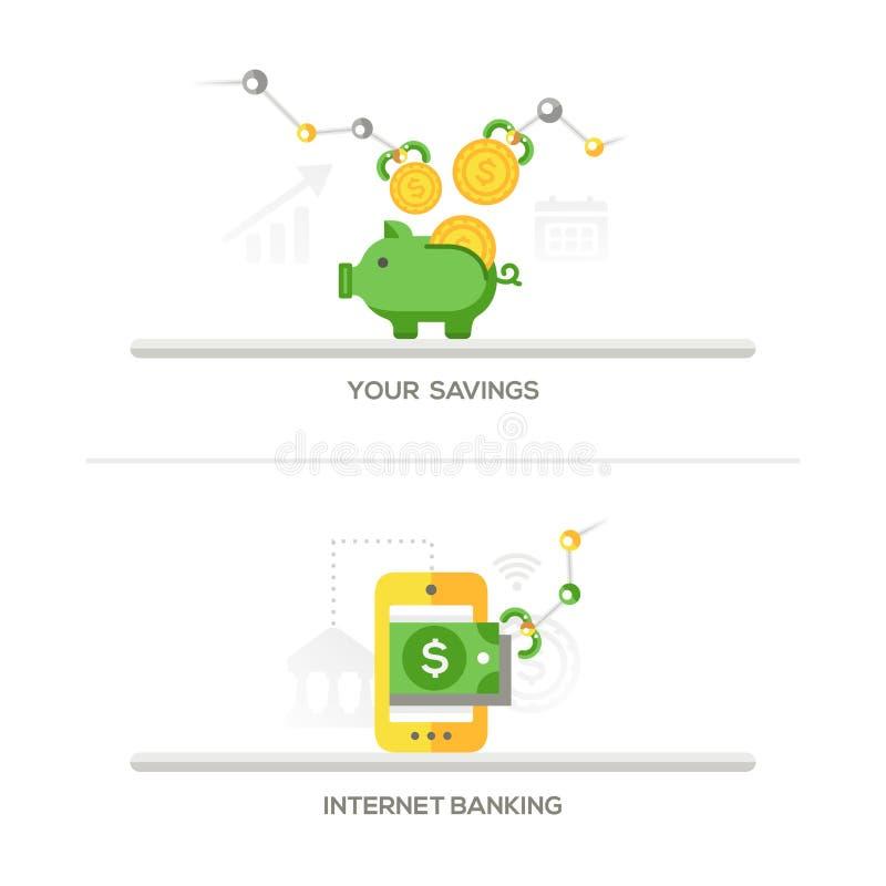 Besparingar internetbankrörelsesymboler vektor illustrationer