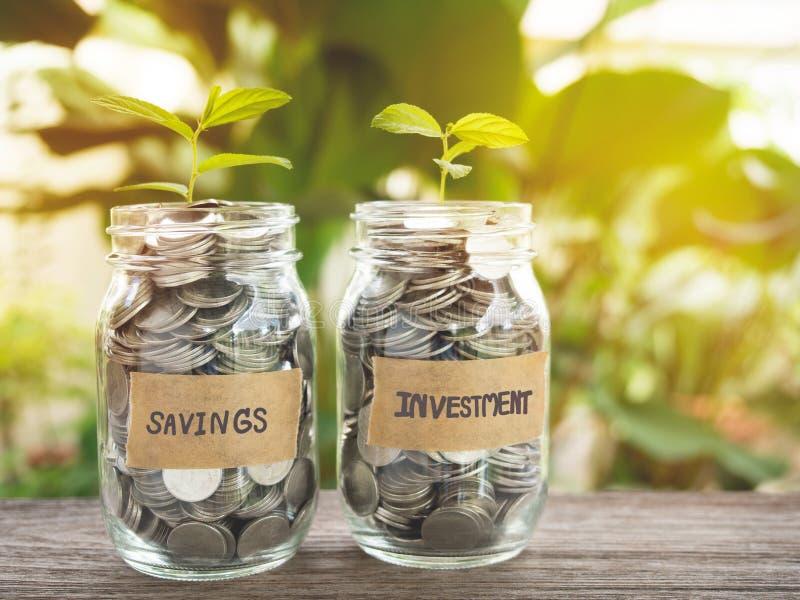 Besparingar och investering, växande begrepp för pengar royaltyfri fotografi