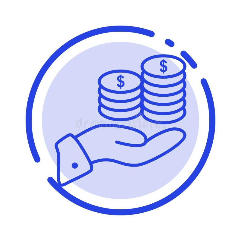 Besparingar omsorg, mynt, ekonomi, finans, Guarder, pengar, blå prickig linje linje symbol för räddning royaltyfri illustrationer