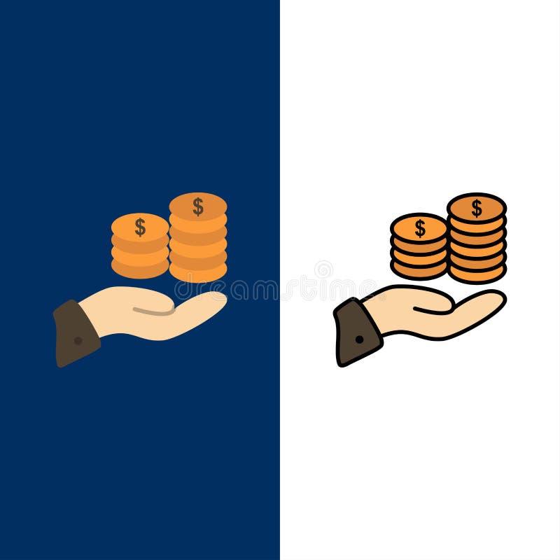 Besparingar omsorg, mynt, ekonomi, finans, Guarder, pengar, räddningsymboler Lägenheten och linjen fylld symbol ställde in blå ba stock illustrationer