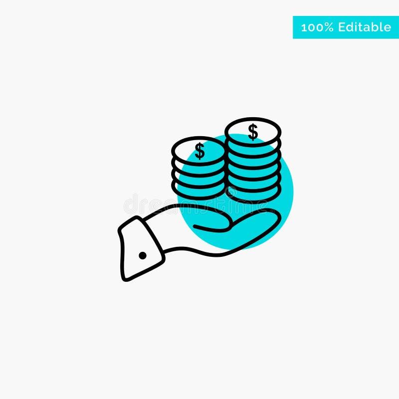 Besparingar omsorg, mynt, ekonomi, finans, Guarder, pengar, symbol för vektor för punkt för cirkel för räddningturkosviktig stock illustrationer