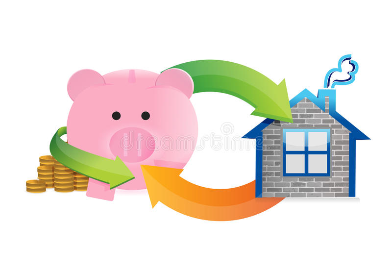 Besparingen om een huis te kopen stock illustratie