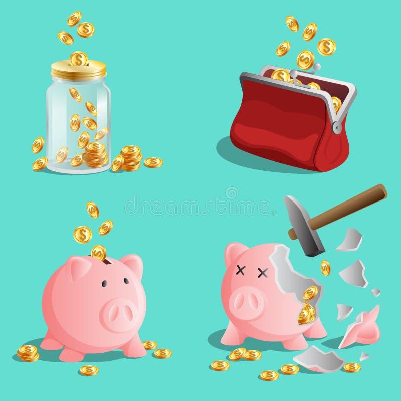 Besparingpengar, ställde in av spargrisen, moneybox, handväska med guld- mynt royaltyfri illustrationer