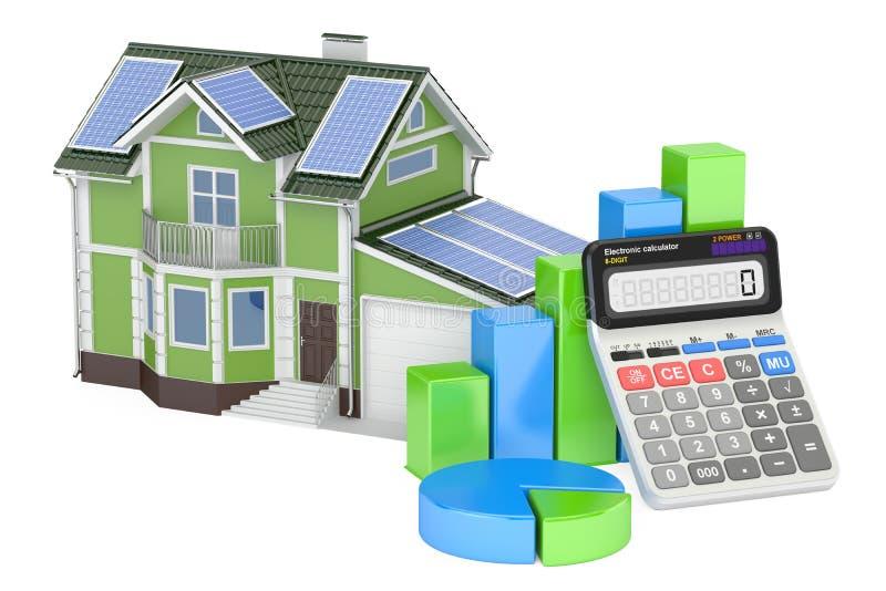 Besparingsenergieverbruik, efficiency van zonne-energieconcept vector illustratie