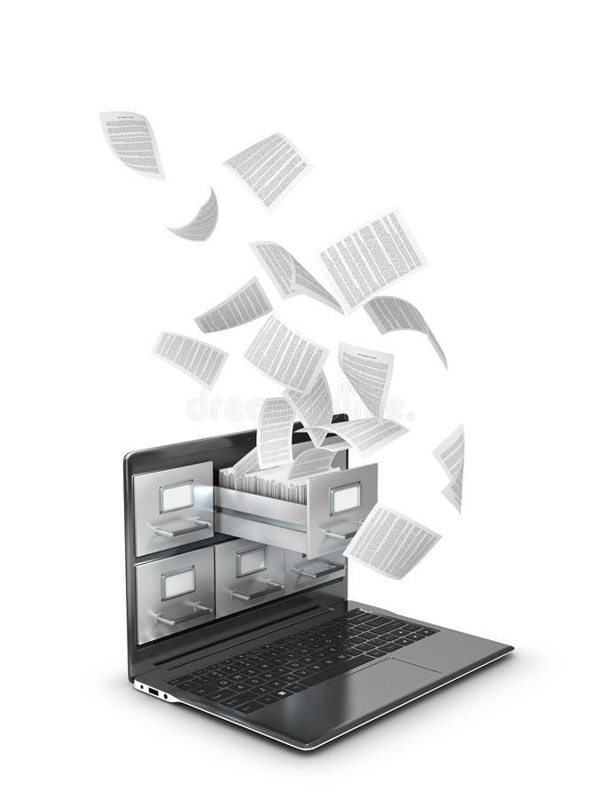 Besparingsgegevens in het netwerk, archieven Vliegende documenten van laptop stock illustratie