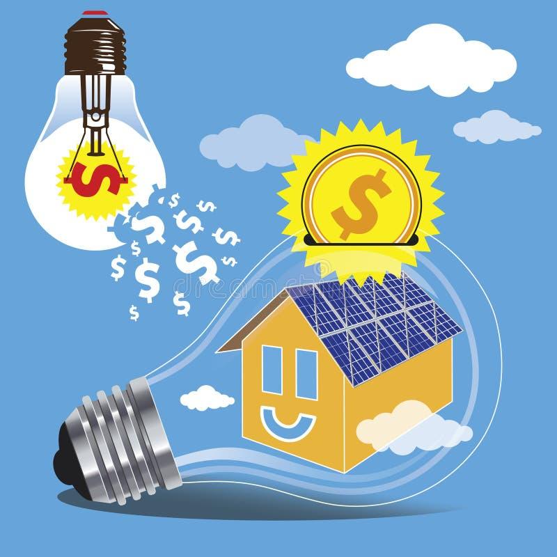 Besparingsgeld door het gebruik van schone energie van de zon vector illustratie
