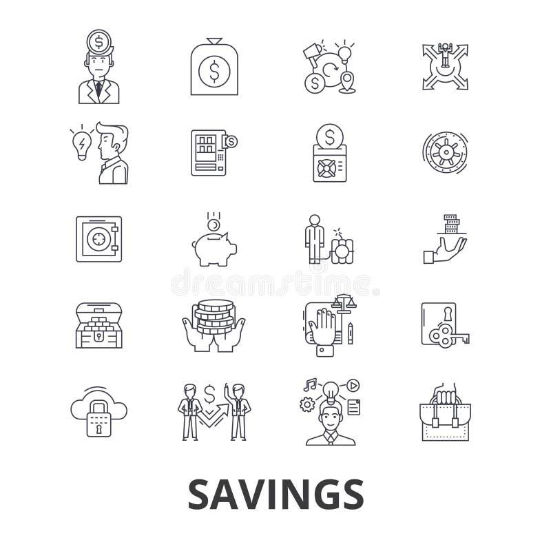 Besparingsymbolsuppsättning royaltyfri illustrationer