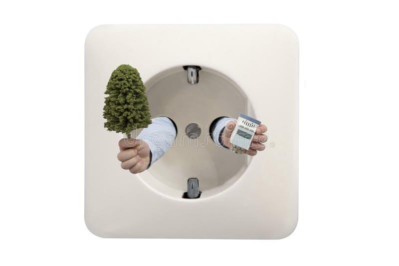 Besparinguppvärmning med termostaten hjälper naturen royaltyfria bilder