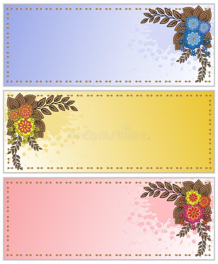 Bespatte kaarten met bloemen vector illustratie