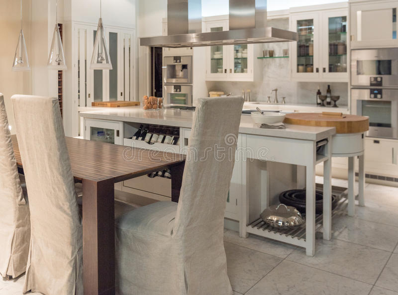 Bespoke Kitchen. Luxury and Contemporary Stylish Bespoke Kitchen Dinner with Modern Appliances and Furniture stock image