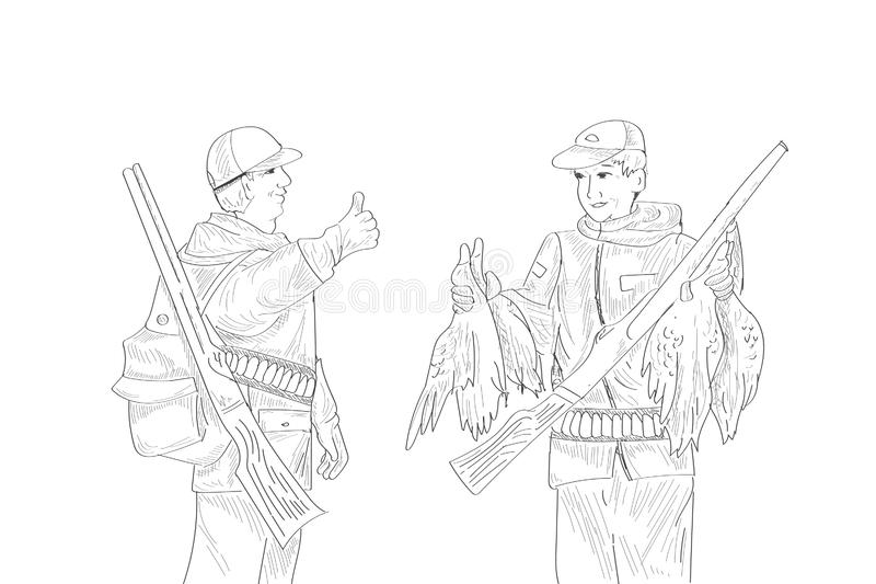 Bespreek jagersprooi De man toont vinger De karakters scheppen van hun trofeeën op Geschotene eenden Jachtseizoen vector illustratie