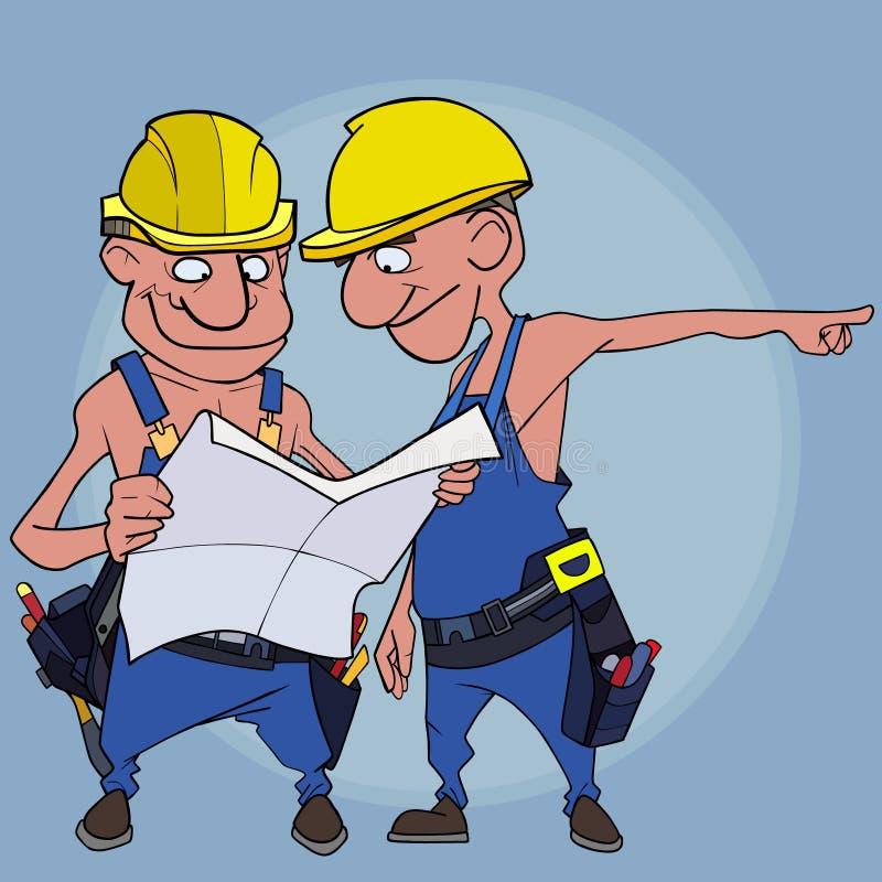 Bespreken de beeldverhaal mannelijke bouwers en bekijken blauwdrukken op een blauwe achtergrond stock illustratie