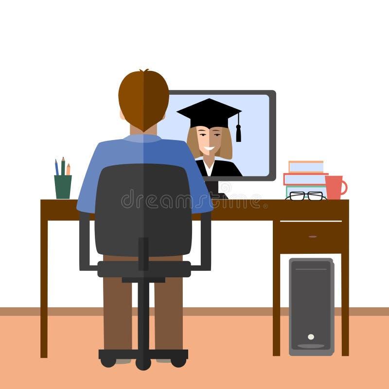 Bespreking door Internet De student en de privé-leraar communiceren via Internet E-leert, afstand en online onderwijsconcept stock illustratie