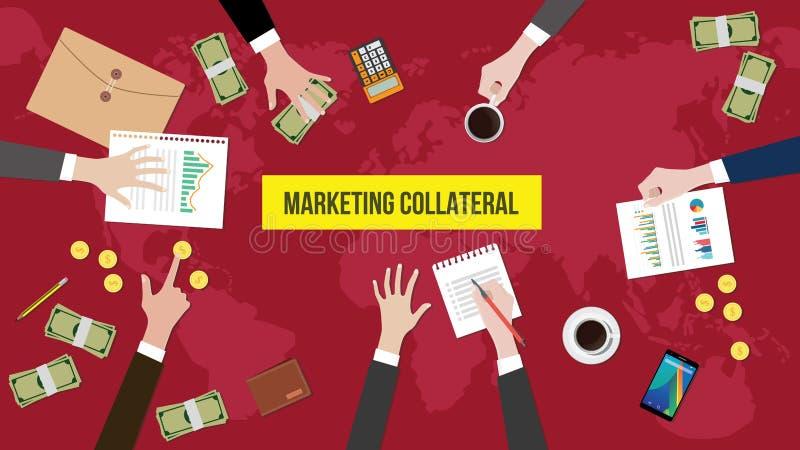Bespreking over de marketing van zakelijk onderpand over een illustratie van de vergaderingslijst met administratie, geld en docu vector illustratie