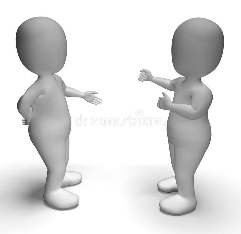 Bespreking tussen Twee 3d Karakters die Mededeling tonen vector illustratie