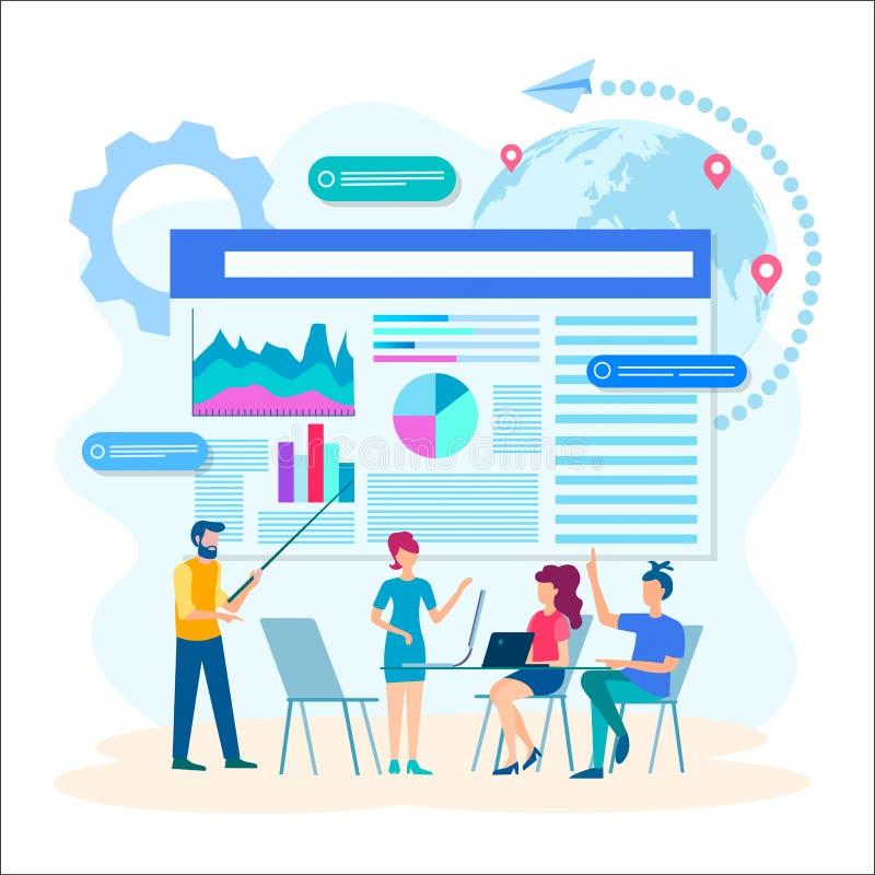 Bespreking van de optimalisering van Webtechnologieën royalty-vrije illustratie