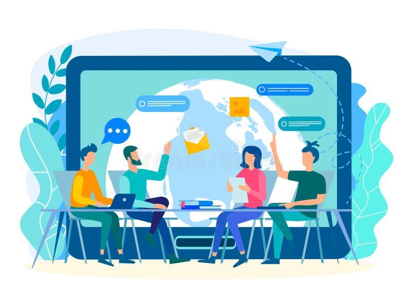 Bespreking van huidige taken door werknemers in het bureau met vector illustratie