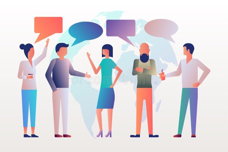 Besprekingsnetwerk De jonge moderne mensen spreken royalty-vrije illustratie
