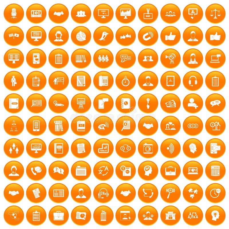 100 besprekingspictogrammen geplaatst oranje vector illustratie