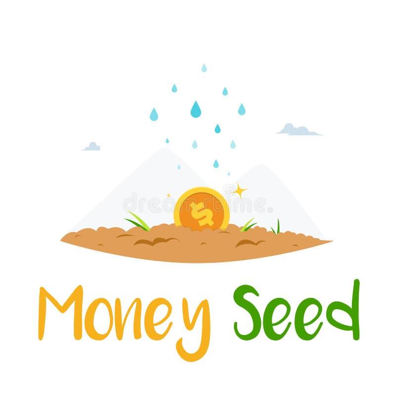 besproeien van geld in de bodem stock illustratie
