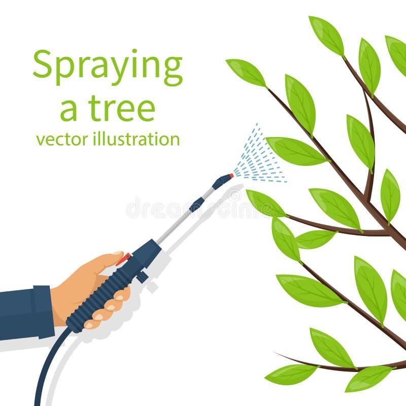 Bespuitend pesticide Verwerking van bomen stock illustratie